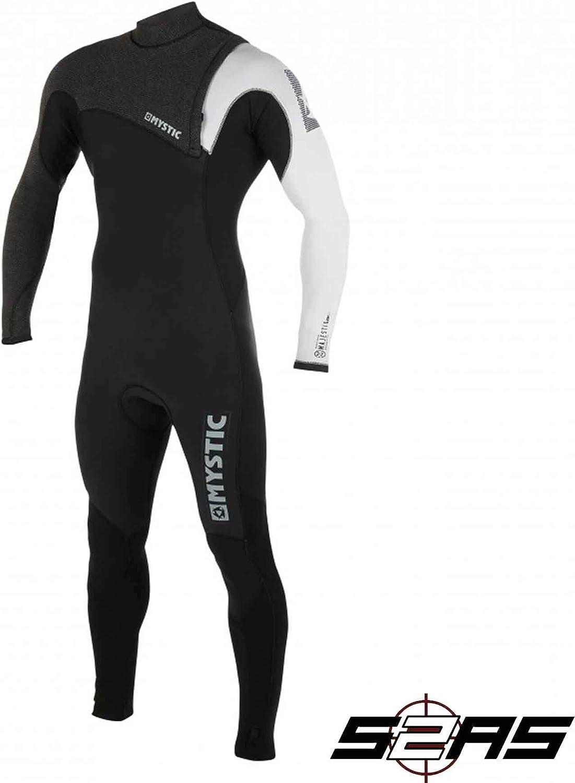 Mystic Watersports  Surf KiteSurf & Windsurfing Mens Majestic Len10 3 2mm Zip Free Wetsuit Black White  Easy Stretch