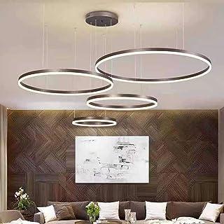 Moderne LED Suspension 4 Anneaux Brun Luminaire 90W Salon Lustre Cercle Lampe de Pendant Ø30+Ø40+Ø60+Ø80CM Chambre Cuisine...