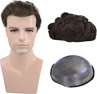 Mens Toupee Human Hair Soft Thin Skin Hair System V-looped European Virgin Human Hair Pieces Replacement Wig for Men 0.04m...