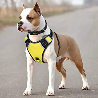 BABYLTRL Big Dog Harness No Pull Adjustable Pet Reflective Oxford Soft Vest for Large Dogs Easy Control Harness (M, Yellow)