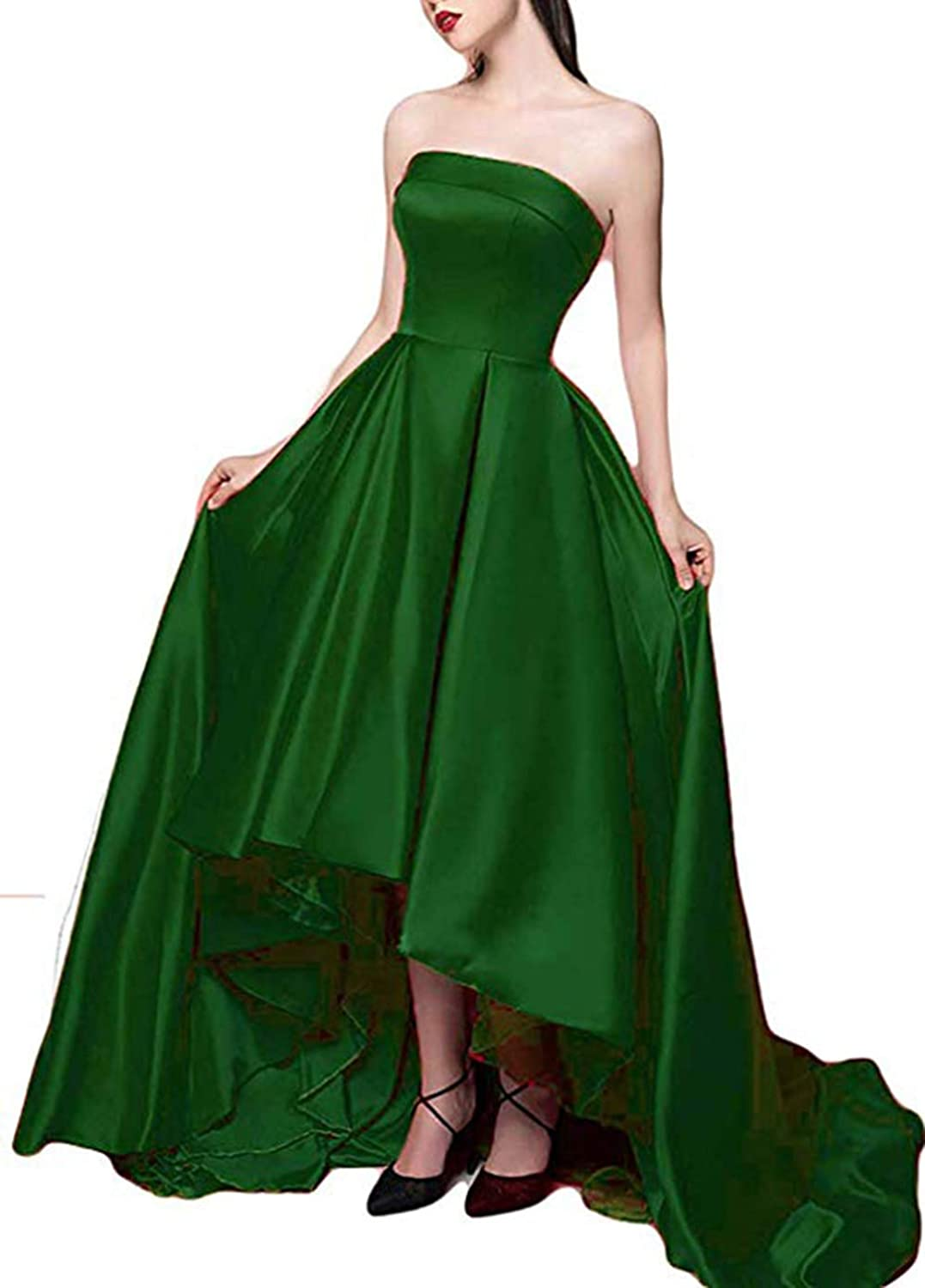 Women's Sweetheart Prom Dresses High Low Strapless Satin ALine Evening Formal Ball Gowns 2019