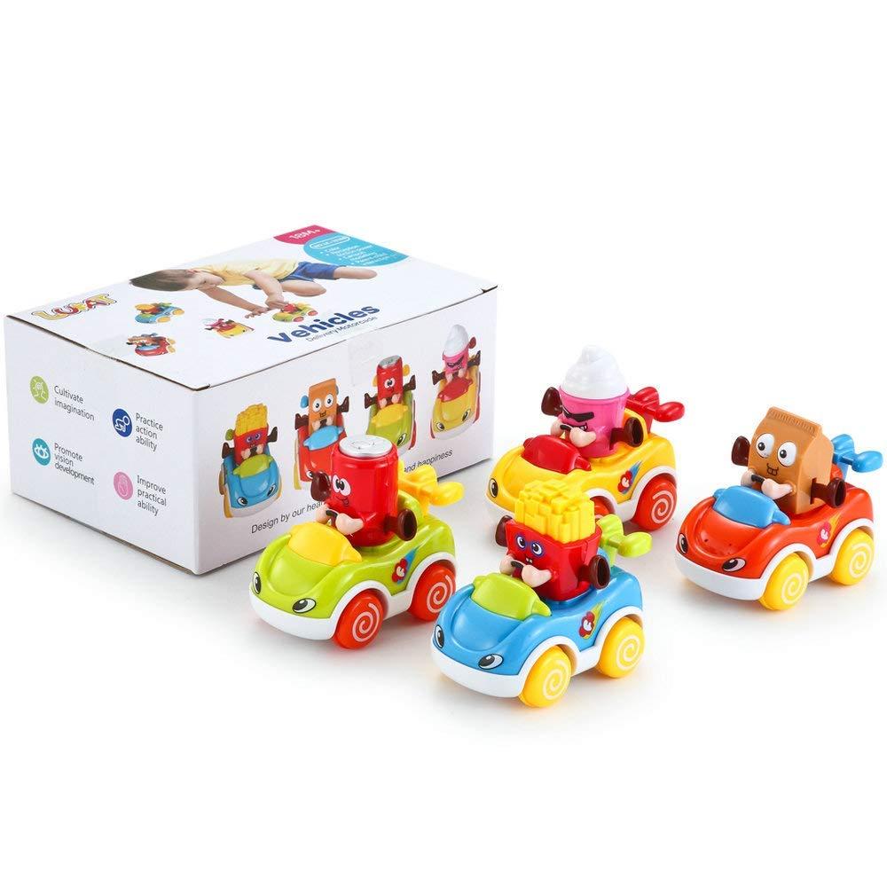 LUKAT - Pack de 4 Juguetes para bebé, Coches de Juguete para niños ...