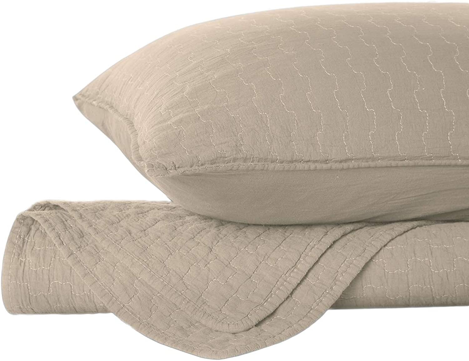 HollyHOME Super Soft Coverlet 3 Piece King Size Stone Washed Linen Blanket Set, Taupe