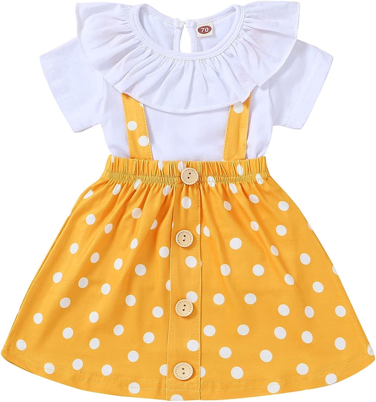 Tiny Cutey Toddler Baby Girls Summer Clothes Ruffle Short Sleeve Top and Polka Dot Strap Dress 2pcs Baby Girls Skirts Set