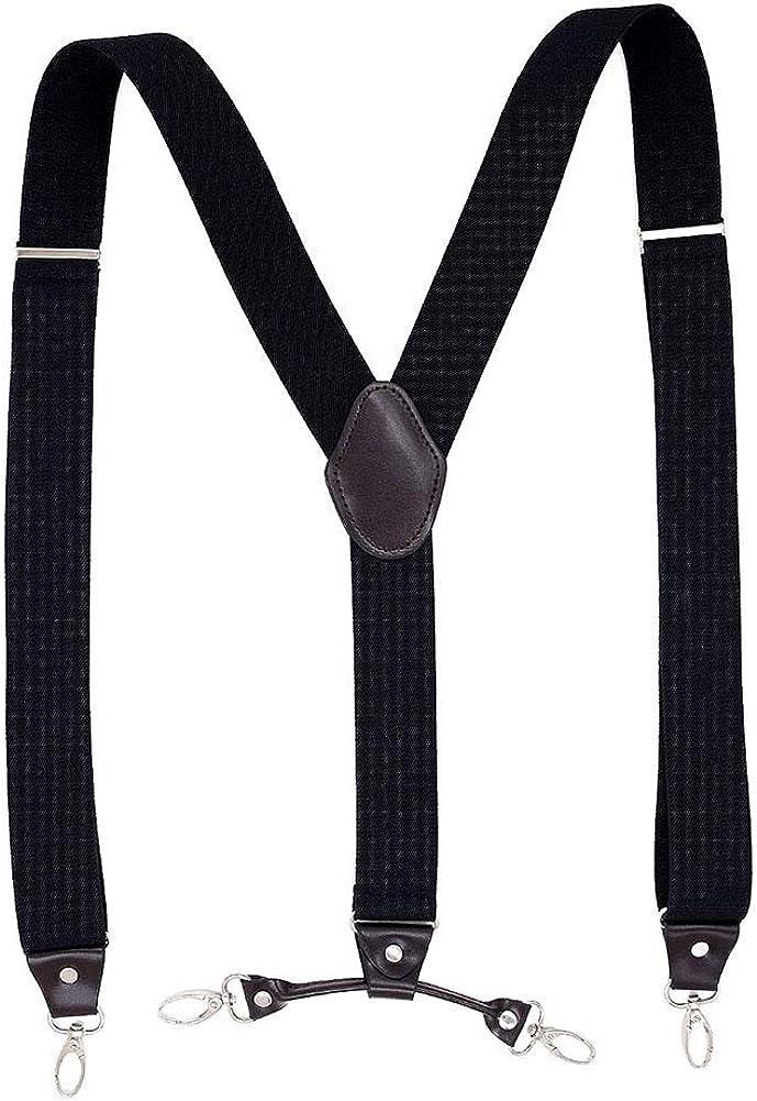 Kingbra Men's Y-back Adjustable Elastic Suspenders 4 Metal Swivel Hook Clips-End Black