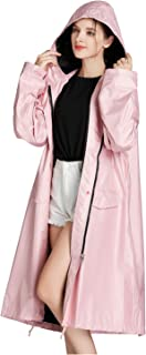 Freesmily Women Long Raincoat Waterproof Rain Jacket with Hood Zipper and Pockets Outdoors