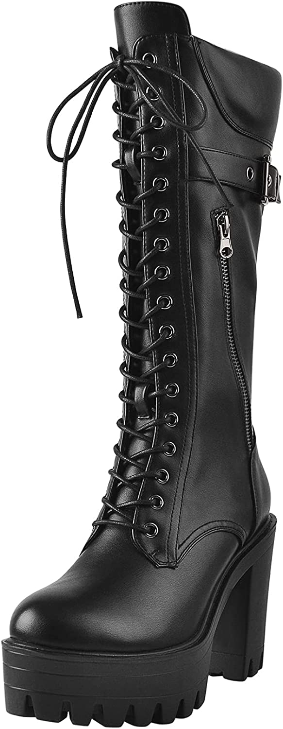 LISHAN Women's Round Toe Lace Up Chunky Block Heel Under the Knee High Boots