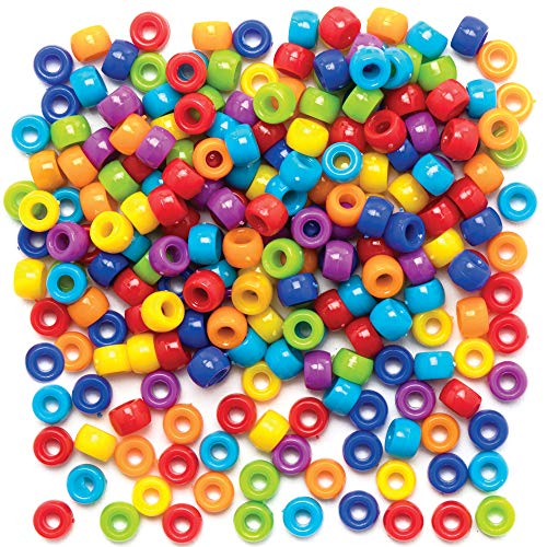 Baker Ross Pony Bead Craft Pack, Arts and Crafts and Jewelry Making (Pack of 800 Pieces)
