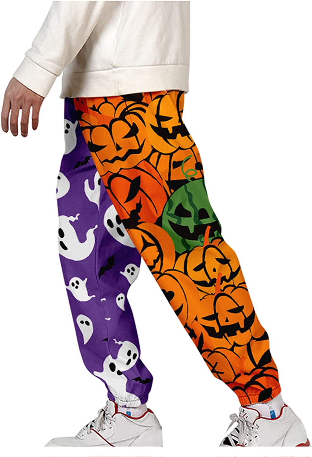 Pants for Men's Harem Pants Halloween Funny Printed Hippie Overalls Trousers Baggy Plus Size Casual Cargo Pants