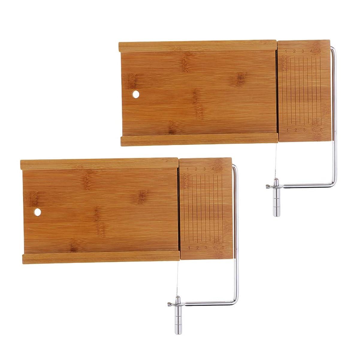 苦いお風呂を持っている苦情文句Fenteer 石鹸のカッター 木質 ソープ切削工具 せっけんスライサー ワイヤースライサー ステンレス鋼 2個セット