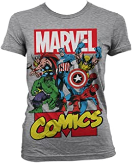 Marvel Comics Officially Licensed Merchandise Heroes Girly T-Shirt (H.Grey), X-Large