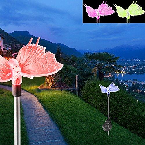 2er Set LED Solar Dekospieß Schmetterling Leuchten Farbwechsel Garten Steck Lampen