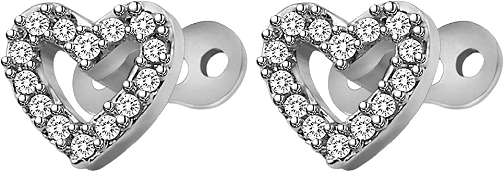 Harilla 2pcs Dermal Tops and Base Stainless Steel Piercing Jewelry - Heart 1