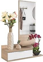 COMIFORT - Recibidor De Entrada Colgante Moderno con Cajón y Espejo, Colores: Blanco, Roble, Wengue, Nordik (Roble/Blanco)