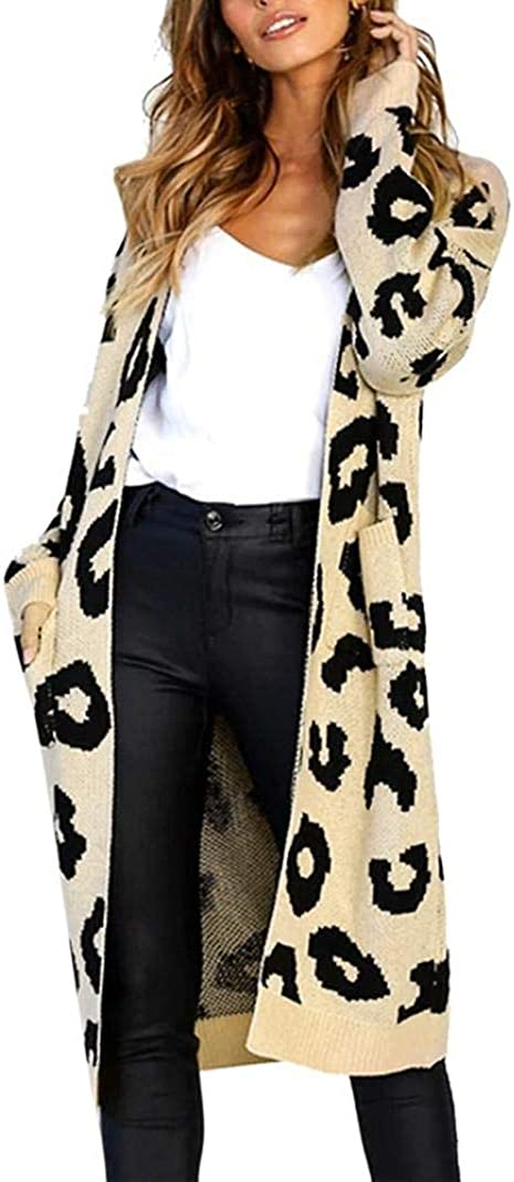 Knitted Sweater Cardigans for Women Print Maxi Coat Long Sleeve Tops with Pocket