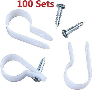 GREARDEN LED Rope Light Clips Holder – 100Pack 1/2 inches Or Under PVC Mounting Rope Light Mounting Clips with Screws (White, 100)