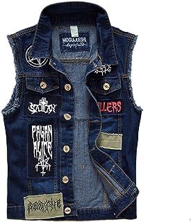 Mens Boys Slim Fit Patches Jeans Vest Gilet Waistcoat Sleeveless Jacket Summer Coat
