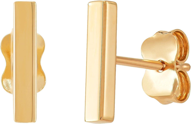 Bar Stud Earrings in 14K Gold