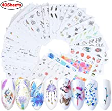 Macute Nail Decals Water Transfer Nail Stickers for Women 40 Sheets DIY Black Flower Pendant Necklace Butterfly Leaf Designs Nail Art Sticker for Fingernails Toenails Decor Nail Tattoos Decorations