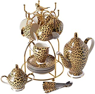 22 Piece European Leopard Print Bone China Coffee Set Luxury Wiht Metal Holder, Vintage Ceramic Tea And Coffee Cups and Saucers With Teapot Sugar Bowl Milk Jug for Household YING