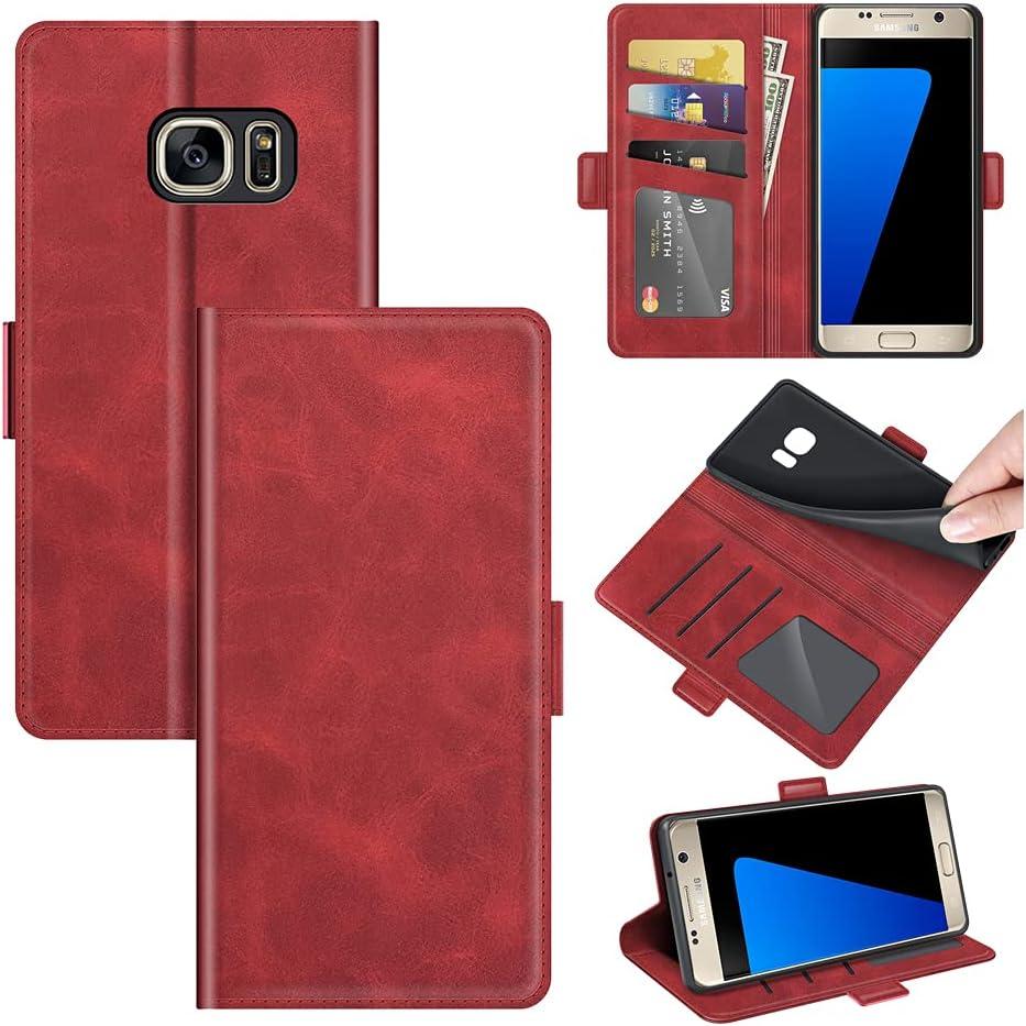 AKC Coque Compatible pour Samsung Galaxy S7 Coque Cuir Etui Mince Cover Antichoc Housse Pochette Fonction Stand Portefeuille Etui Antipoussière...