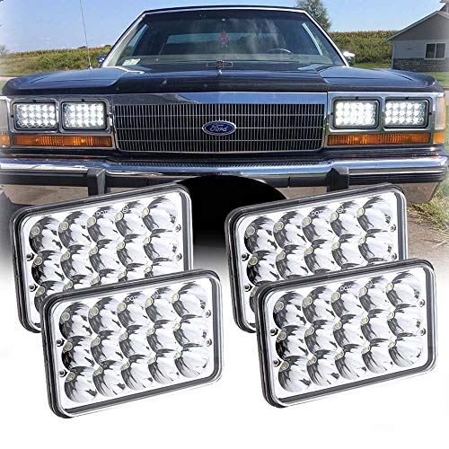 4Pcs 60W Philips Chips 4x6 inch LED Headlight Rectangular Replacement H4651 H4652 H4656 H4666 H6545 for Peterbil Kenworth Freightinger Ford Probe Chevrolet Oldsmobile Cutlass 4Pcs