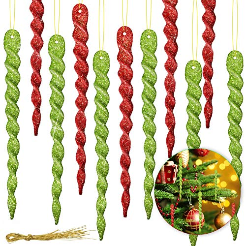 60 Pieces Twisted Icicle Ornament Christmas Tree Glitter Spiral Strip Hangings for Holiday Party Wedding Accessories, 5.1 Inch, Green and Red