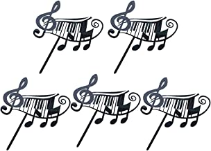 BESTONZON 5 Pcs Cake Toppers Acrylic Note Music Shape Birthday Party Cake Fruit Picks Food Decoration Supplies (Black)