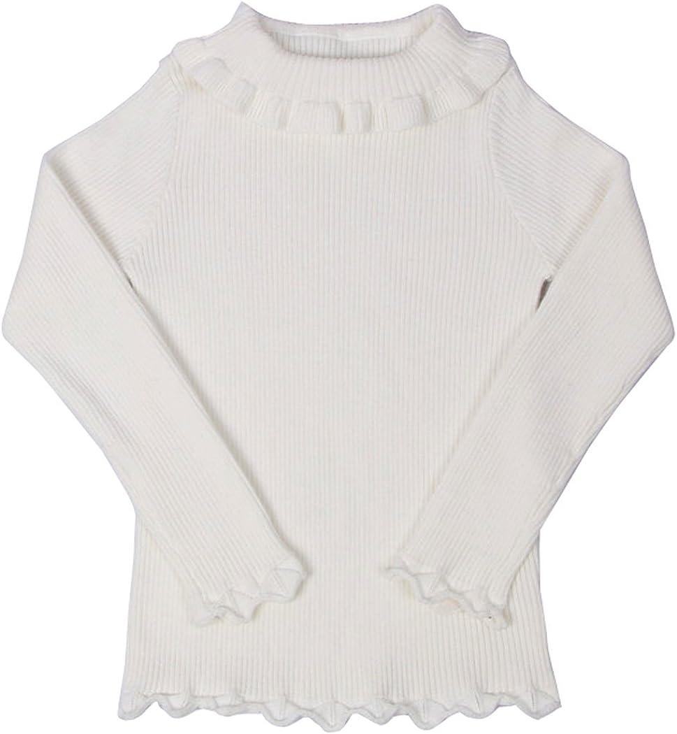 Wennikids Girls Spring Autumn Turtleneck Sweaters with Ruffle Neck