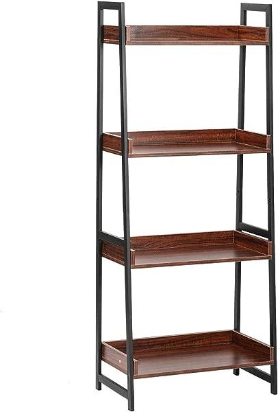 IRONCK Bookcase 60 H 4 Tier Bookshelf Industrial Storage Ladder Shelf Unit For Living Room Bedroom Bathroom