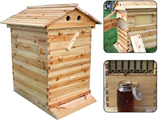 Bee Hive House Cedarwood Super Brood Beehive Box Bee Hive House Deluxe Bee Hive Starter Kit Honey Keeper for 7 Auto Honey Beehive Frames (Bee Hive House) (US Stock)