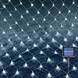 Christmas Mesh Net Lights, 192 LED 9.8ftx6.6ft Outdoor Solar Lights with 8 Modes, Solar Fairy Lights Outdoor Waterproof, 24V Low Voltage String Lights for Wall, Christmas Tree Decoration (White)