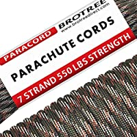 Brotree 30m Paracord Cuerda de Paracaídas de Nylon 550 lbs 7 Resistentes Hebras de Fibra Poliéster para Escalada Kit de Supervivencia Acampada (Estándar, Reflectante)