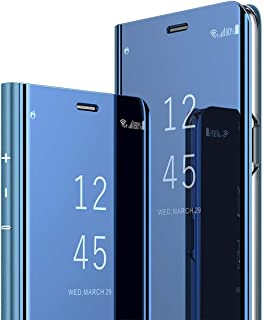 A8 Star Case, COTDINFORCA Mirror Design Clear View Flip Bookstyle Luxury Protecter Shell With Kickstand Case Cover for Samsung Galaxy A8 Star SM-G885 / A9 Star 2018. Flip Mirror: Blue