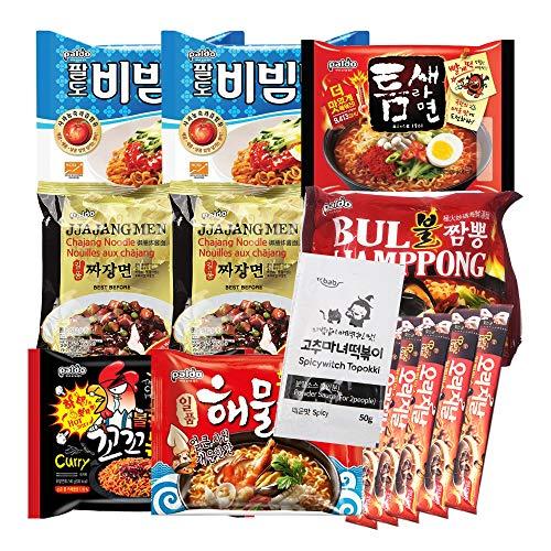 The Elixir K-Foods Korean Hit Noodle Ramen Variety Pack w/ Tteokbokki Sauce, Instant Coffee Mix Box, Bibimmen, Jjajangmen, Teumsae Ramen, Bul Jjamppong, Volcano Chicken, Seafood Ramen