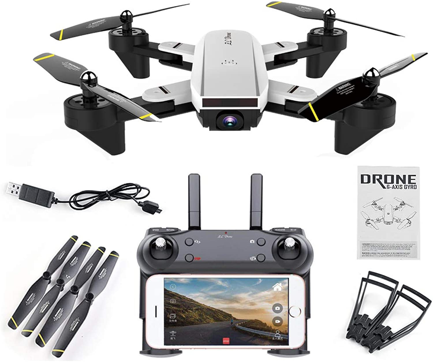 SmallJun SG700 FPV RC Qudacopter with 0.3MP 2MP Wide Angle Optical Follow Mode Camera Foldable Selfie Drone Altitude Hold Headless Helicopter,200 WideAngle
