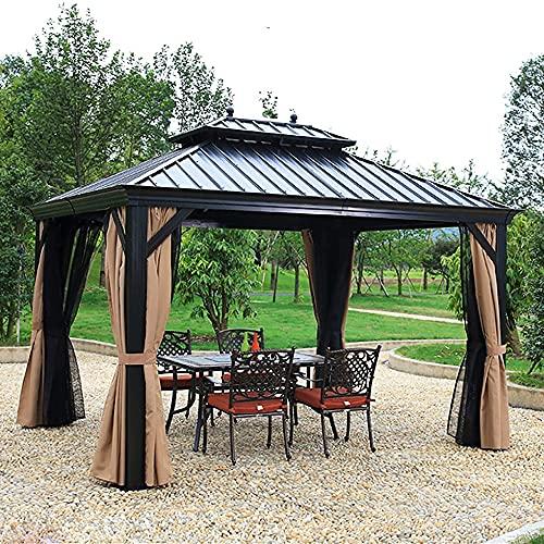 ZLRE 3m*3m Hardtop Gazebo Galvanized Steel Outdoor Gazebo Canopy Double...