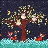 Marineblauer Stoff süßer Fuchs Eule Baum von Michael