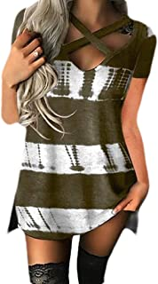 Women Casual Color Block Patchwork Short Sleeve Front Cross V Neck Loose Shirt Top