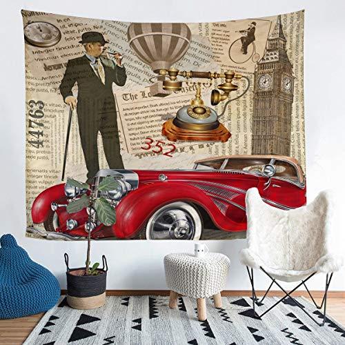 Tapiz para colgar en la pared, diseño retro de cabina de teléfono, color rojo, para niños, niñas, decoración de pared, diseño de Londres