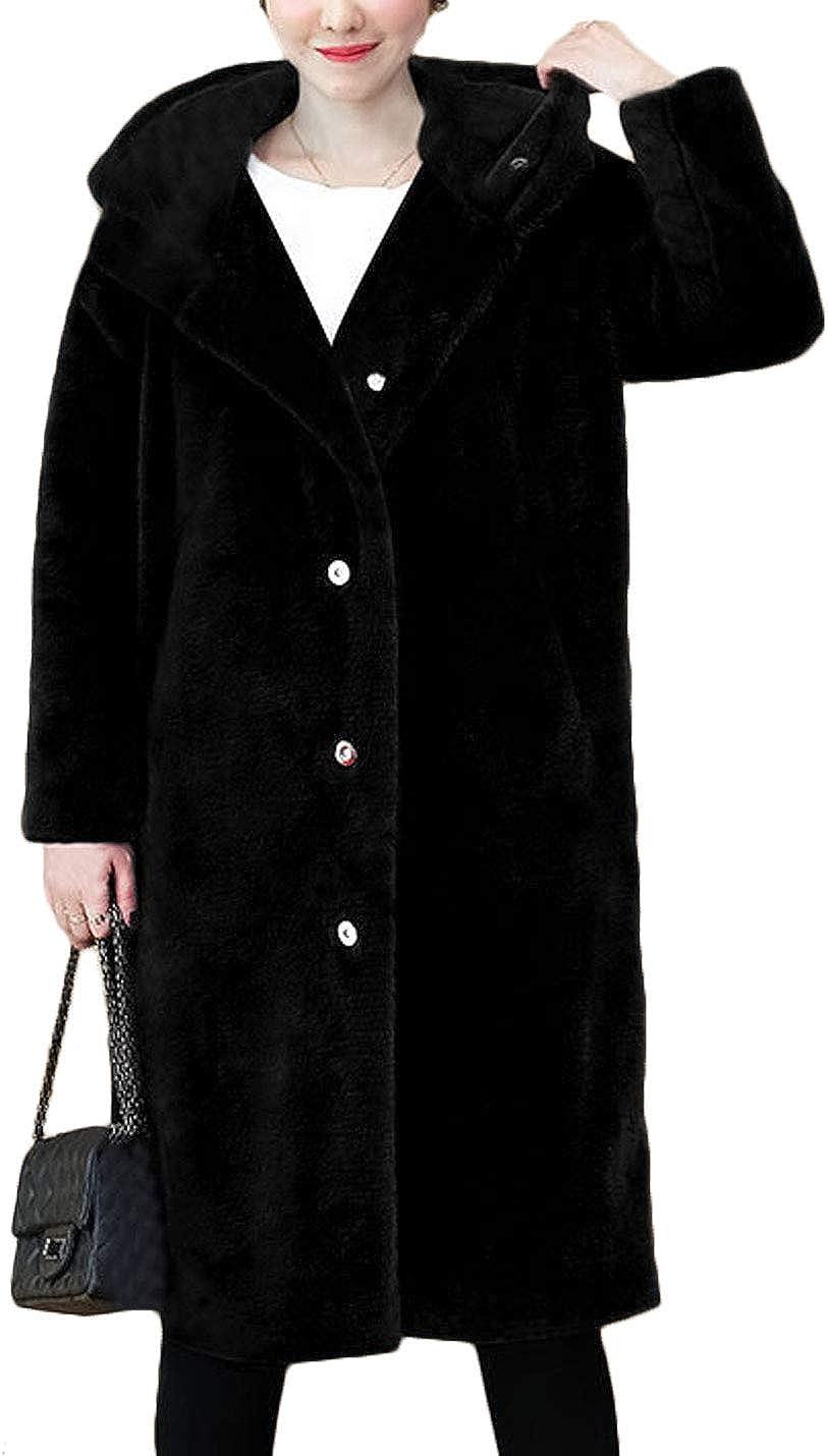 Jenkoon Women's Winter Fuax Fur Coat Mid-Length Hooded Fluffy Parka Jacket