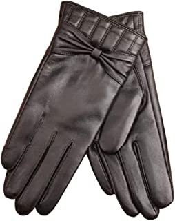 Womens Leather Gloves Ladies Touch Screen Mittens Soft Warm Velvety Lining Winter Gloves with One Bow Decoration (Black)
