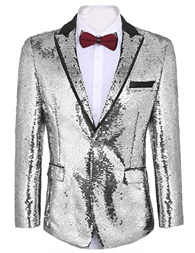 COOFANDY Men's Shiny Sequins Suit Jacket Blazer One Button Tuxedo for Party,Wedding,Banquet,Prom (XXL, Silver)