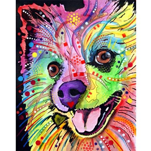 Aoixbcuroc Zestaw do malowania według numerów z 40 x 50 cm / 16 x 20 cali Canva, instrukcja, hak, pędzel, farby akrylowe, DIY malowanie akrylowe dla dzieci i dorosłych początkujących — szczeniak