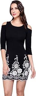 DEVENDI DENIM CO. Vestido Casual para Mujer - Vestido Corto Stretch con Perlas