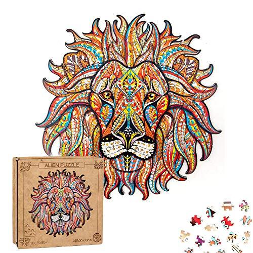 EXTSUD Puzzle in Legno Gioco per Bambini e Adulti Puzzle Colorati a Forma di Leone Puzzle Animali Legno Forma Unica Fai da Te Puzzle Bambini Adulti Wooden Puzzle Lion (Leone)