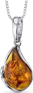 Baltic Amber Tear Drop Pendant Necklace Sterling Silver Cognac Color