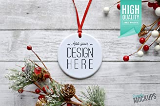 Round Porcelain Christmas Ornament Christmas Mockup Add Your own Image Template Digital Download