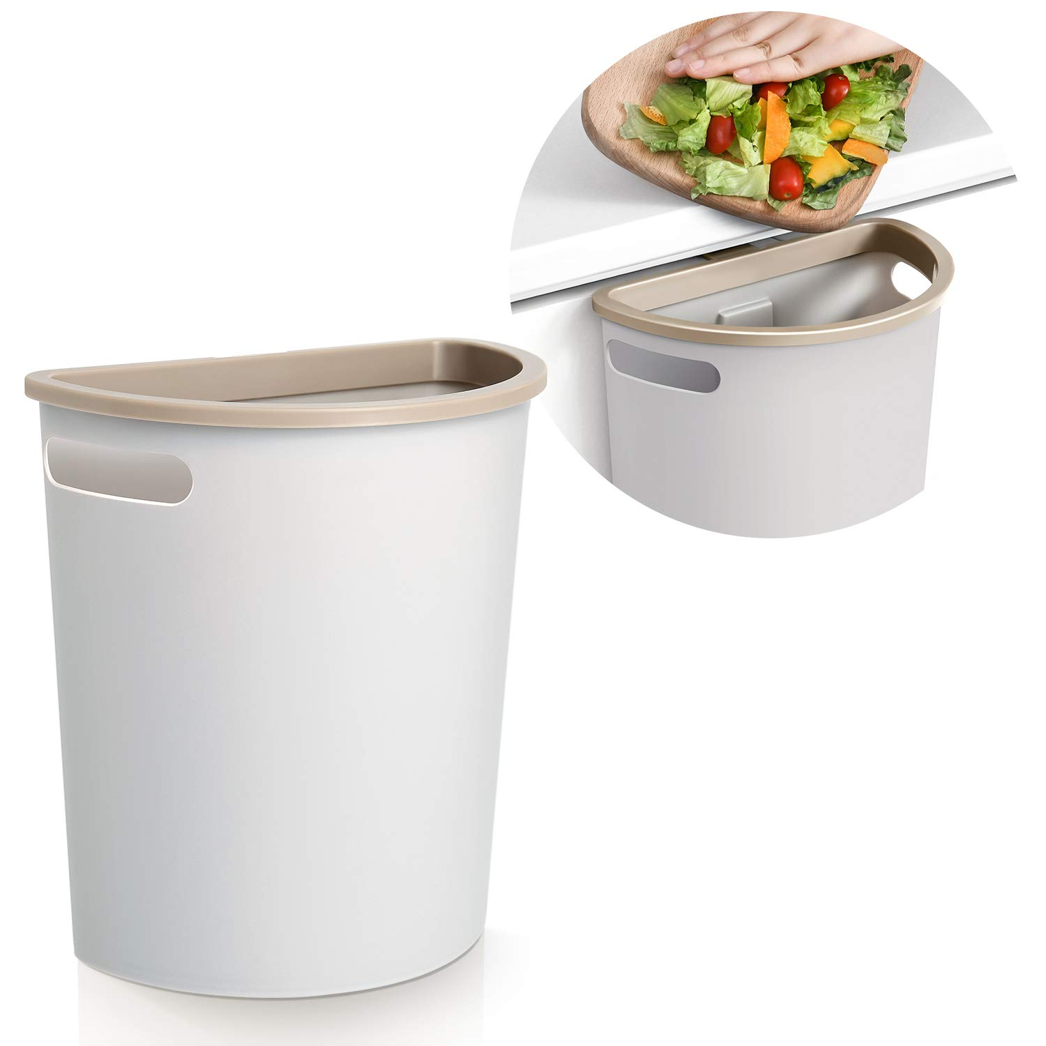Amazon Com Subekyu Small Trash Can Hanging Waste Bin Under Kitchen Sink Plastic Wastebasket Over Cabinet Door With Top Ring To Fix Garbage Bag Home Kitchen