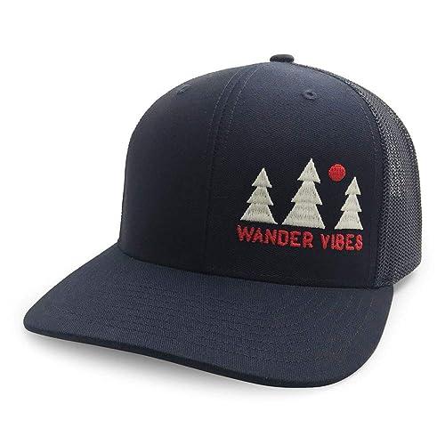 WUE Trucker Hat for Men Wander Vibes Outdoors mesh Cap cf8af8aa92b6